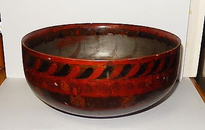 Large Old 19 Th Century Chinese Hand Made Lacquer Bowl