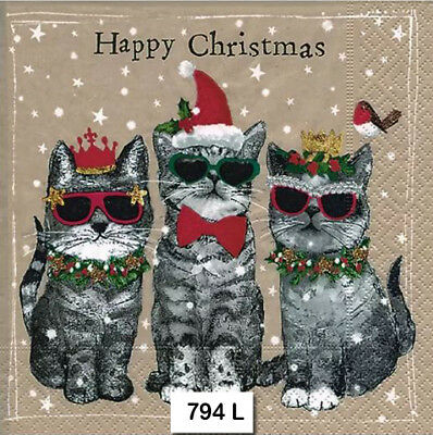 (794) TWO Individual Paper Luncheon Decoupage Napkins - CHRISTMAS COOL CATS