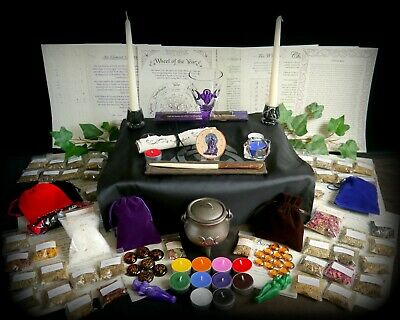 Huge Witchcraft Kit Wicca Pagan Wicca Pagan Cauldron Marble Wand Herbs Altar