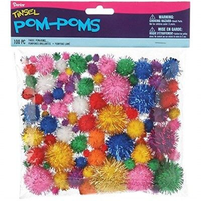 Darice Tinsel Pom Poms - Bright Colors - 100 Pieces - Pom Variety Pack