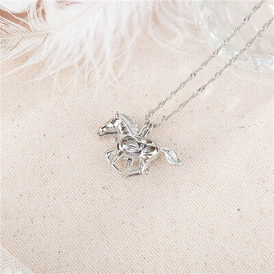 Charm Glow In The Dark Running Horse Pendant Necklace Luminous Women Jewelry BS