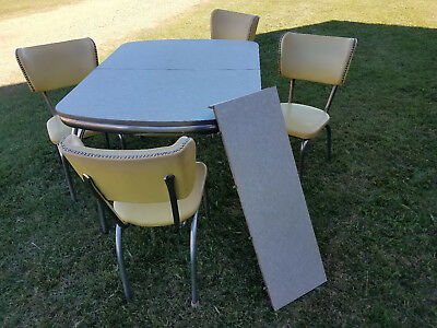 1950s Vintage kitchen table, leaf and 4 chairs, Chrome & Yellow, Good Condition