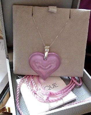 Pendant Lalique Large Heart Pretty  Pink  &  9Ct Gold White Gold Chain Luxury