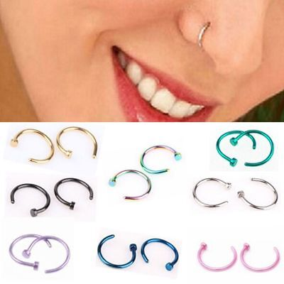 8mm Unisex Hoop Clip on Fake Nose Ring Body Jewelry Non Piercing Nostril Hoop