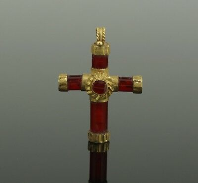 LOVELY ANCIENT BYZANTINE GOLD & CARNELIAN CROSS - 7th/9th Century AD