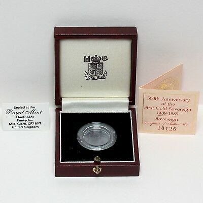 1989 Elizabeth Ii 500Th Anniversary Proof Sovereign Certificate & Coin Box