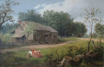 "perfect oil painting handpainted on canvas ""Cabin with Children Playing ""N5869"