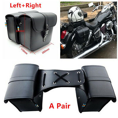 1 Pair Motorcycle Saddle Bag Bike Side Storage Fork Tool Pouch For Harley Honda