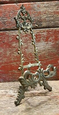 """Antique Brass ROCOCO Easel Photo Stand Ornate Victorian Photo Holder 7.5"""""""