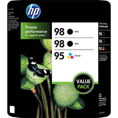 Genuine HP 98 Black 95 Tri-color 3 Ink Cartridge Value Pack New Sealed Box