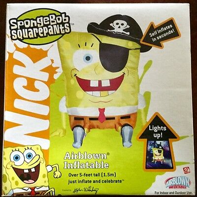 2005 Gemmy 5' sponge bob pirate Halloween Airblown Inflatable New