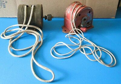 2 ANTIQUE Clothes Line Winder Reel Farmhouse Laundry Rope Cord Spool Wall Mount