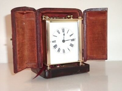 Genuine Antique Carriage Clock With Key And Travel Case. Beautiful Condition.