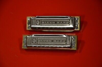2x Hohner Blues Harps Vintage made in Germany 1975 real blues tone=top condition