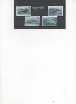 British Antarctic Territory 1996 Antarctic Whale Species set of 4 Used Stamps