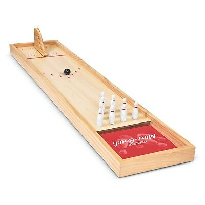 GoSports Mini Wooden Tabletop Bowling Alley Game Set for Kids & Adults