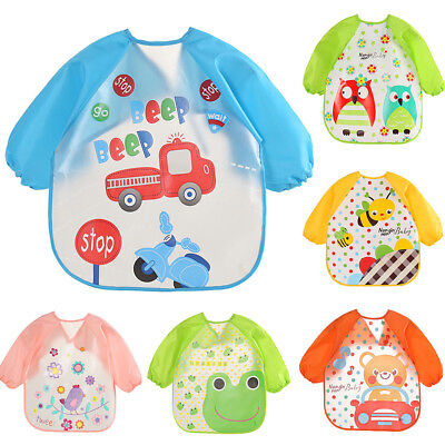 Baby Toddler Cute Cartoon Waterproof Long Sleeve Children Kids Feeding Bib Apron
