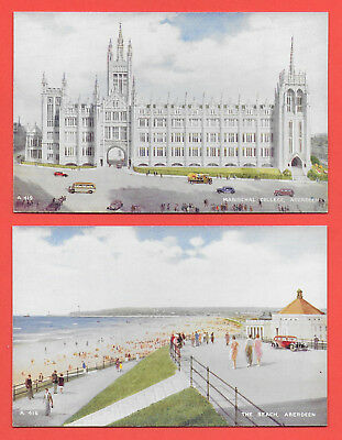 4 Valentines Art Colour Postcards of Aberdeen