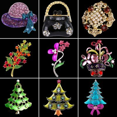 Rhinestone Crystal Christmas Tree Flower Bag Women Breastpin Brooch Pin Jewelry