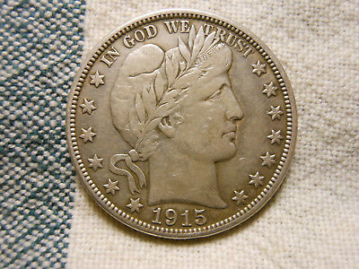 1915-D Barber 90% Silver Half Dollar Better Condition