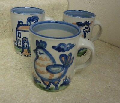"M A Hadley 3 ""The End"" Mugs -  House,Horse,and Chicken"
