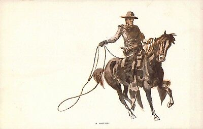 "Beautiful c. '06,  Cowboy on Horse ""A Roper"", Great Falls MT, Old Postcard"