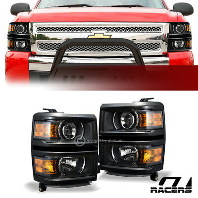 For 2014-2015 Chevy Silverado Black Housing Projector Headlights Amber Lamps Dy