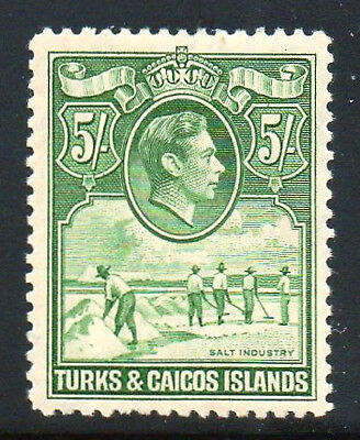 TURKS and CAICOS ISLANDS 1938 5/= YELLOWISH GREEN SHADE SG 204  VERY LIGHT HINGE
