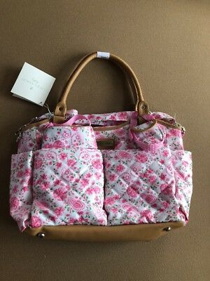 Laura Ashley 6 in 1 Floral Tote Diaper Bag, Pink Floral NWT