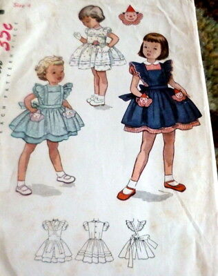 LOVELY VTG 1950s GIRLS DRESS & PINAFORE Sewing Pattern 4