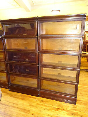 Pair (2) Mahogany Globe Wernicke 5 Stack Barrister Bookcases Arts & Crafts