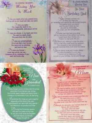 Loving Memory Memorial Remembrance Grave Card Tribute Verse Poem Flower Weath