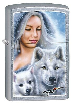 Zippo Lighter: MazziLady with Wolves - Street Chrome 78891