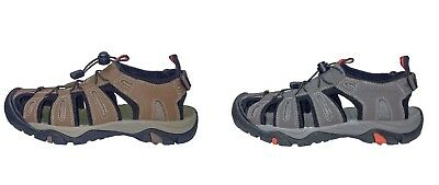 Mens Eddie Bauer Tommy Brown Grey Leather Bump Toe Shoes Sandals 9 10 11 12 13