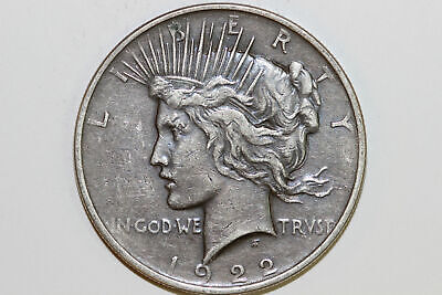 Extra Fine 1922 P Toned Obverse 90% Silver Peace Dollar (PDX1150)