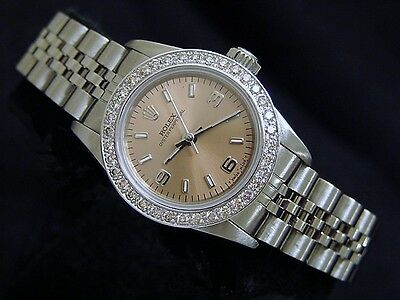 Mujer Rolex Acero Inoxidable Oyster Perpetual Salmón W/ CT 1 Diamante Bisel