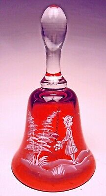 Mary Gregory Bell Bohemia Glass White Enamel on Cranberry with Crystal Handle