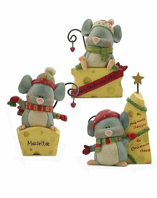 Lot of 3 Christmouse Christmas Mice & Cheese Resin Blossom Bucket Mouse