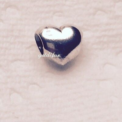 NEW Authentic Pandora BIG SMOOTH PUFFY HEART Charm/Bead 925 ALE Silver #790137
