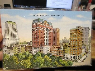 Vintage Old Postcard TENNESSEE Memphis Downtown Buildings Stores Hotel Park Tree