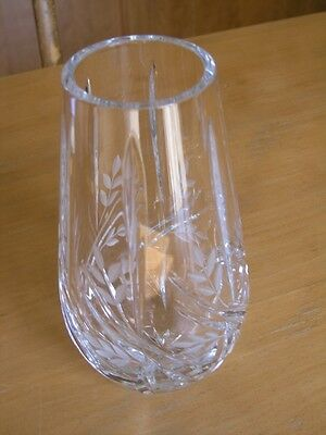 Fine Vintage Quality Hand Cut Crystal Glass Vase Wheat Design Star Base 8+ inchs
