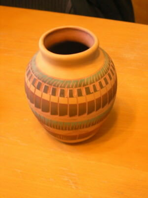 Vintage Colorful Navajo Etched Pottery Signed T. W. Navajo 6.5 inches