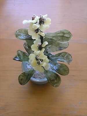 Vintage Chinese Bonsai Floral / Tree in Vase Glass and Wire Bouquet 8+ inches