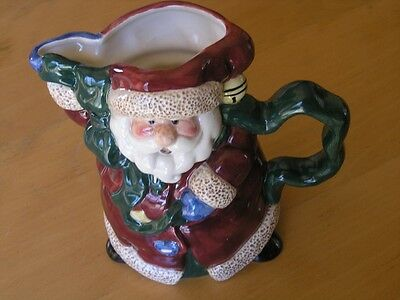 Vintage Bella Casa Santa Claus Porcelain Pitcher By Ganz 8 3/16 x 9 x 6""