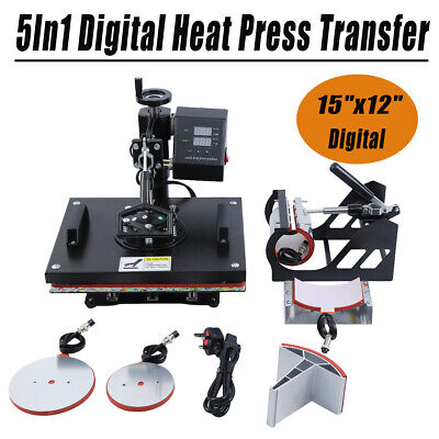 "15""x12"" 5In1 Digital Heat Press Transfer Sublimation Machine T-Shirt Mug Hat Cup"