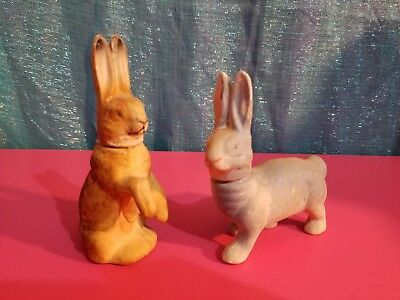 "(2) Antique Germany 4"" Rabbit Bunny Paper Mache Easter Candy Container"