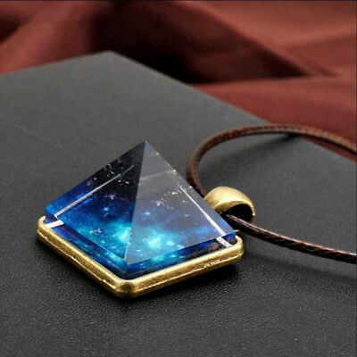Starry Night Glowing Geometric Pendant Necklace Glow in The Dark Luminous BS
