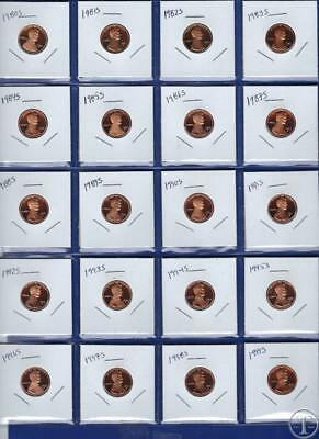 1980 S through 1999 S Proof Lincoln Cent Penny Set of 20