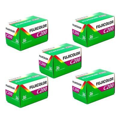 5x Fuji Fujifilm Fujicolor C200 35mm 135-36 Colour Print Film - Value Pack!