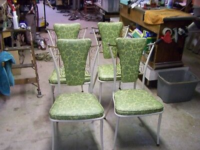 4 Vintage Metal 1960's Vinyl Kitchen Dining Dinette Chairs Green Baked on Paint